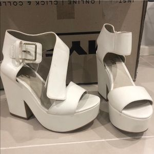 Chunky white lipstick heels